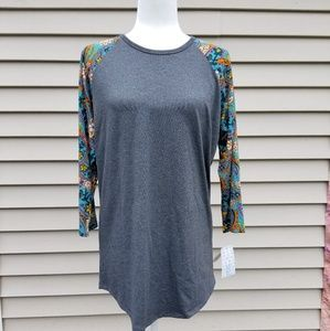 LULAROE XL RANDY GRAY SHIRT WITH FLORAL SLEEVES